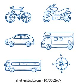 Icon set travel holidays, vacation with car, motor cycle, bike, bus, trailer, caravan and globe Hand drawn doodle vector illustration.
