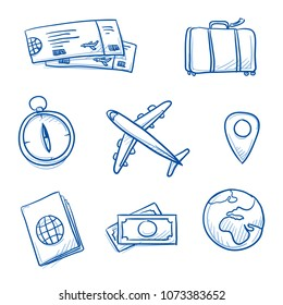 Icon set travel holidays, vacation with plane, compass, luggage, passport, globe, tickets, money, landscape. Hand drawn doodle vector illustration.