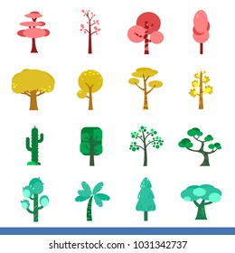 Icon set of trees in colors, vector images, green earth concept