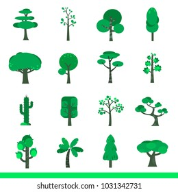Icon set of trees, vector images, green earth concept