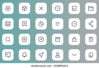 icon set for UX UI web element design