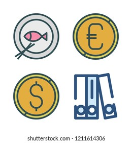 icon set. vector set about blinder, coin and fish icons set.