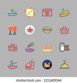 icon set. vector set about supper, shopping basket, hamburger and flour icons set.