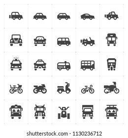 Icon set - vehicle and transport filled icon style vector illustration on white background