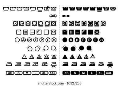 Icon Set of washing symbols / black and white / vector