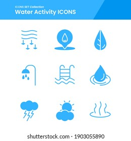 icon set of water activity leaf nature, bathroom, weather and many more. with solid style vector. suitable use for web app and pattern design.