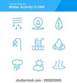 icon set of water activity leaf nature water, bathroom, pool and many more. with line style vector. suitable use for web app and pattern design.