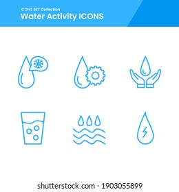 icon set of water activity setting water, energy water, glass water and many more. with line style vector. suitable use for web app and pattern design.