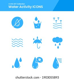 icon set of water activity, weather, wave umbrella and many more. with solid style vector. suitable use for web app and pattern design.