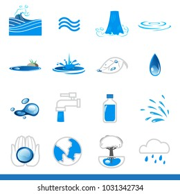Icon set of water symbol, vector images, green earth concept