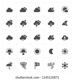 Icon set - weather and forecast filled icon style vector illustration on white background