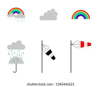 Icon set weather on white