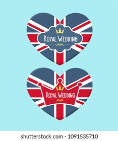 Icon set of wedding cards in the form of a heart textured under the British flag. On the card is the crown and the text: The Royal Wedding.