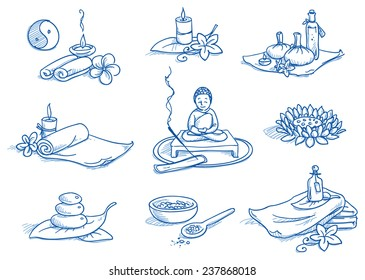 Icon set wellness, spa, meditation, with lotus flower, candles, towels, buddha, bath salt, leafs and flowers. Hand drawn doodle vector illustration.