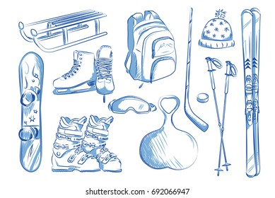Icon set of winter objects: skates, ski, sleds, snowboard. Hand drawn vector illustration.