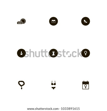 Icon Set Woman Necklace Data Cosmetics Stock Vector (Royalty
