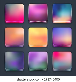 Icon sets for mobile application interface. Buttons