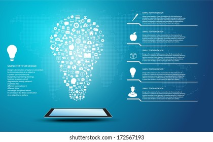 Icon shape infographic of idea and thinking concept with global communication, Lamp