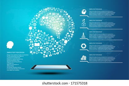 Icon shape infographic of Innovate idea and thinking with global communication, brain