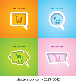 icon of Shopping Cart on four kinds of speech bubble with four different color beautiful background. Eps-10.
