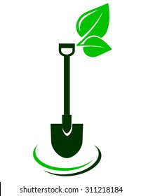 icon with shovel and green leaf on white background