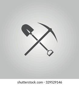 Icon shovel with a pick-axe.