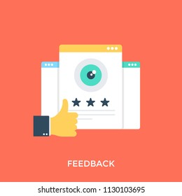 An icon showing the thumbs up sign with rating stars portraying the notion of feedback.