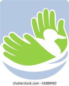 Icon shows a wild duck swimming with hands that also look like wings or grass reeds.