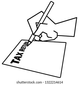 Icon sign of a hand filling a tax return form for the concept of Tax Time. Vector illustration.