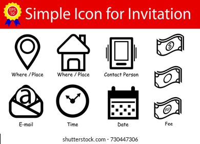Icon Sign : Place, Time, Date, Contact, Fee, Email Address, Isolated on White