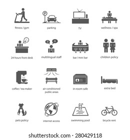 Icon sign symbol hotel lodge inn amenity facility collection fitness gym parking wellness spa front desk multilingual bar children coffee tea maker in-safe room bed pet internet swimming pool rent