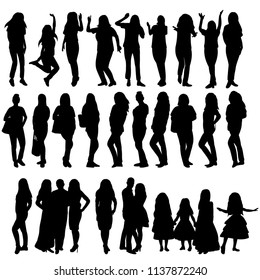 icon, silhouette of a girl, women, set