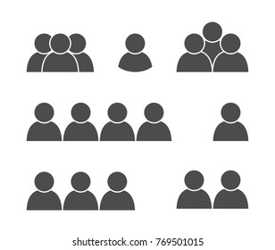 icon, silhouette of man, simple isolated pictogram, set of figures, group of people