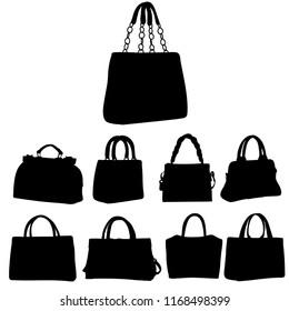 icon, silhouette of a set of handbags
