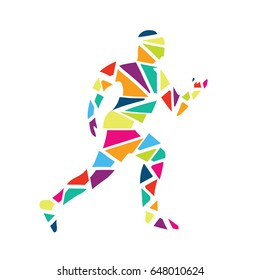 Icon Silhouette triangle running man