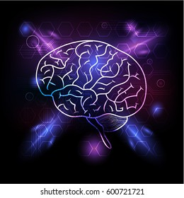 Icon of simple human brain, situated on blue, violet abstract glowing light background