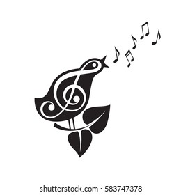 Icon of singing bird with beak and notes. Vector illustration