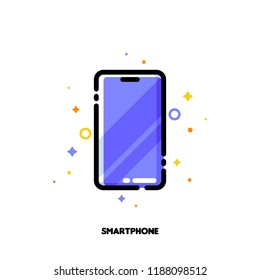 Icon of smartphone with huge display with purple screen for gadget concept. Flat filled outline style. Pixel perfect 64x64. Editable stroke