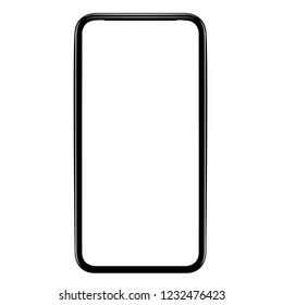 icon smartphone outline vector or illustration telephone , similar to iphone xs max with blank white screen from Apple generation 10 , mockup model similar to iPhonex