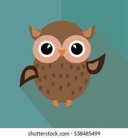 the icon of smiley owl on green background
