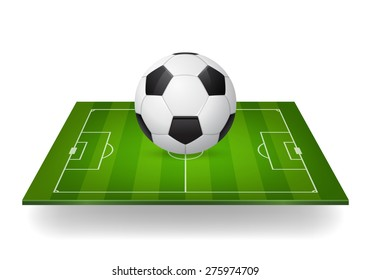 Icon of soccer ball on field. Isolated. Design element, template. Vector EPS10 illustration.