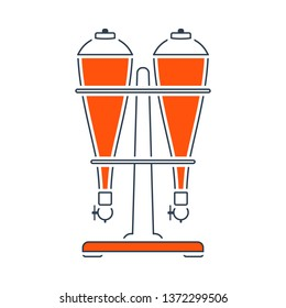 Icon Of Soda Siphon Equipment. Thin Line With Red Fill Design. Vector Illustration.