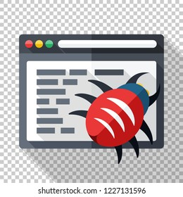 Icon of software with bug in the program code. Vector illustration in flat style with long shadow on transparent background
