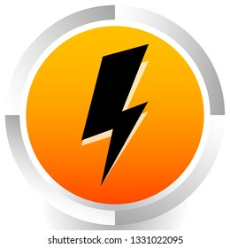 Icon with spark, lighting bolt symbol for electrical themes