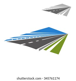 Icon of speedy highway or freeway with blue sky abstract disappearing beyond the horizon. Travel or vacation theme design