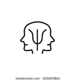 Icon of split personality. Duality, siamese twins, personality. Mental disorder concept. Can be used for topics like disease, Alzheimer, horoscope
