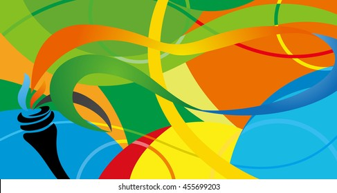 Icon sport torch with colorful wavy stripes. Championship icon, a symbol of victory. Isolated vector illustration.Abstract colorful background with wave, Champions flame.