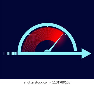 Icon sports stopwatch or speedometer. Stock vector illustration.
