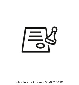 Icon of stamping paper. Seal, document, agreement. Paperwork concept. Can be used for topics like official documentation, approved paper, permission