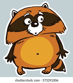 Icon sticker funny surprised raccoon. Cartoon. Vector. Characters.  Isolated objects.